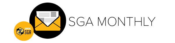 SGA Monthly Header with logo of a black circle with a yellow envelope and newspaper peeking out of it.
